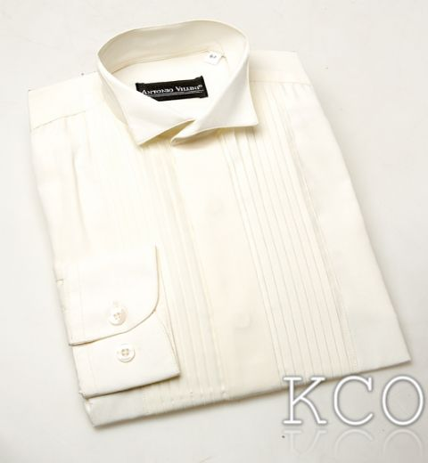 Wing Collar Pleated Shirt-Ivory
